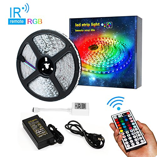 Guaiboshi 32.8ft Flexible LED Strip Light, 600 LEDs SMD 5050, 24V non-Waterproof RGB LED Light Strips Kit, LED ribbon with 44 Key IR Controller and Power Adapter, for Kitchen Bedroom Car Bar Party