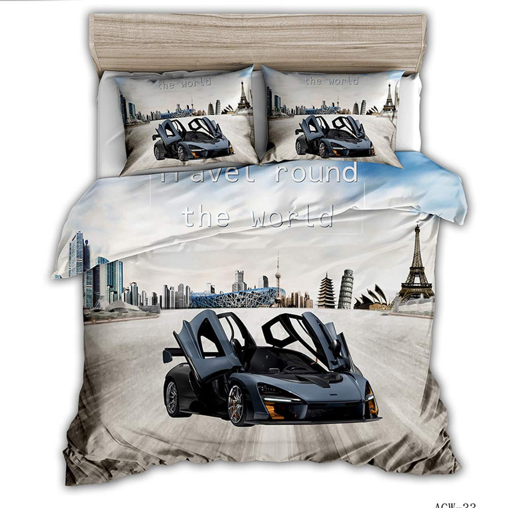 Duvet Cover Set 3D Racing Sports car Printed Bedding Set for Kids Teens Adults Girls Boys Soft Microfiber Duvet Cover,Gray,Full(79x91in)