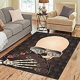 Gogogosky Home Decorate Floor Custom Rectangle Skeleton Playing Poker Area Rug Floor Rug Room Carpets 7'x5'