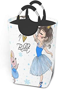 Collapsible Laundry Baskets Ballerina Mouse Girl,Funny Animal Rat Large Dirty Laundry Hamper Colapsable Collaspable Calaspable Fold Dorm Fabric Laundry Basket For Baby Girl Kids Clothes Camp Travel