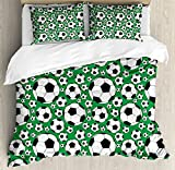 Ambesonne Soccer Duvet Cover Set King Size, Various Sizes Footballs Pattern Active Lifestyle Popular Sport from Europe, Decorative 3 Piece Bedding Set with 2 Pillow Shams, Green Black White