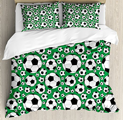 Ambesonne Soccer Duvet Cover Set King Size, Various Sizes Footballs Pattern Active Lifestyle Popular Sport from Europe, Decorative 3 Piece Bedding Set with 2 Pillow Shams, Green Black White by Ambesonne