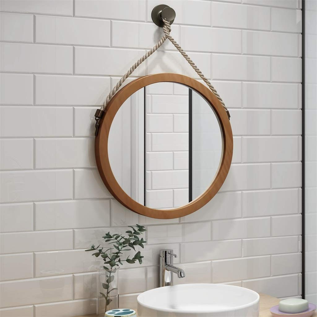 Specchio per Trucco Circle Telaio in Legno Color Noce LH-Specchio Specchio a Parete Specchio da Bagno a Parete Tondo con Corda di Canapa Specchio per Il Trucco a Parete