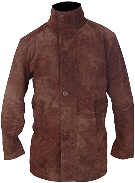 AHM-SERVICES Mens Longmire Sheriff Walt Robert Taylor Genuine Suede Leather Long Coat