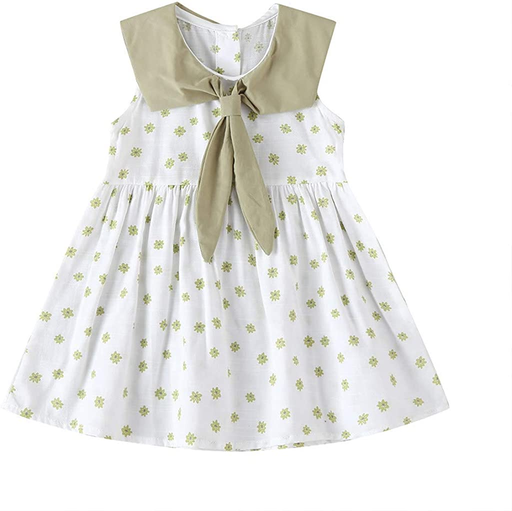 CUTUDE Party Princess Dresses Girls Dress Collar Bow Tulle Floral Print Baby Butterfly Embroidery Sleeveless Skirt 9M-3Y