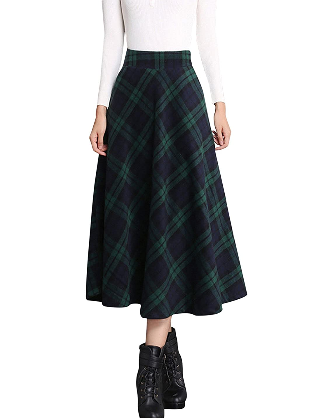 98b39e7e8d7d Tanming Women s Elastic Waist A-Line Pleated Wool Plaid Long Skirt at Amazon  Women s Clothing store
