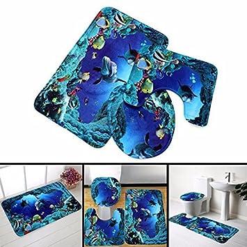 3 St/ück Matte Rutschfest Bad-Teppich Blaue Delfine Toiletten-Abdeckung Pedestal-Teppich Badezimmer-Rutschfeste Teppich-Set Badezimmer Teppich Set favourall rutschfestes Teppichset
