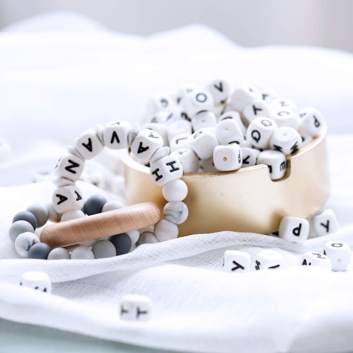 Mamimami Home 100pc Letra del alfabeto de grano de alimentos de silicona masticar perlas de dentición collar En 26 Letras Cuentas de silicona