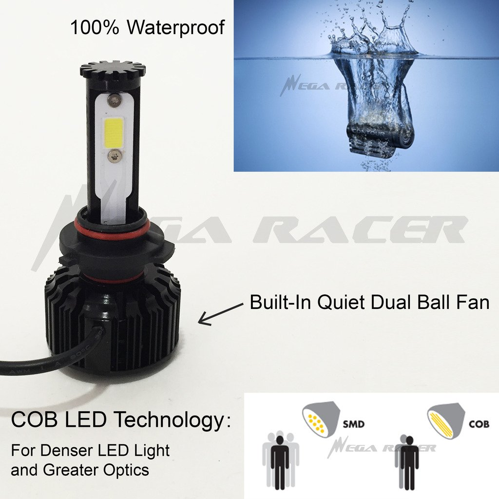 Amazon.com: Mega Racer 9005-HB3 CREE COB LED 6K White 10K Blue Kit Kit Headlight High Beam - Replace Xenon Stock Hi Lamp Light Bulb: Automotive