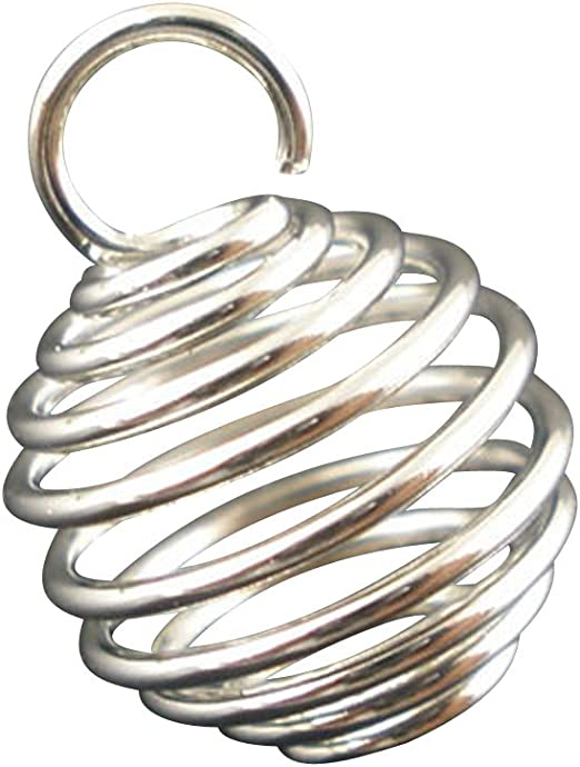 100 Silver Plated Spiral Bead Cages Charms Pendants For Jewelry Making 8x9mm