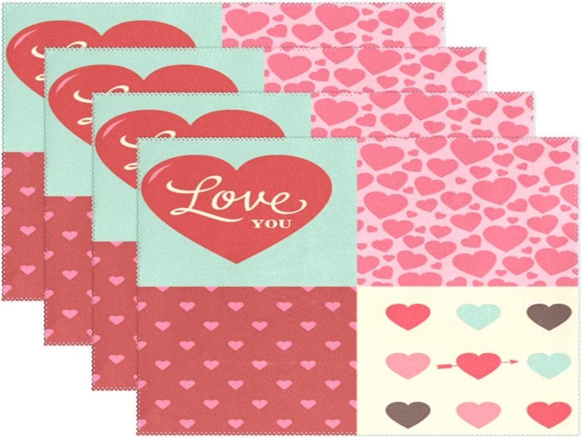 Amazon Com Wamika Valentines Day Heart Placemat Set Of 1 Table Mat Be Mine Love Place Mat Placemat 12 X 18 Dining Home Kitchen Table Decoration Home Kitchen