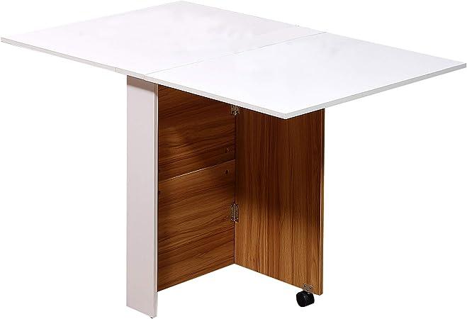 Table De Cuisine 120 X 80 X 73 Cm Chene Et Blanc Pliante Sur