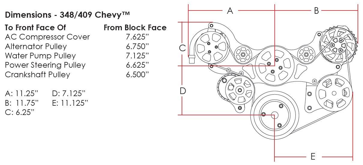 amazon com: new billet specialties black tru-trac big block chevy 348 & 409  front engine kit with water pump, alternator, power steering pump,