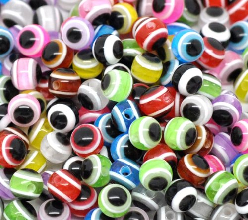 - PEPPERLONELY Brand 500PC Mixed Multicolor Evil Eye Stripe Resin Spacer Beads 6mm