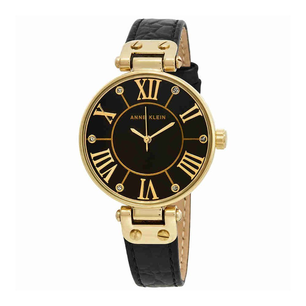 Anne Klein Women's AK/1396BMBK Gold-Tone Black Mother-Of-Pearl Dial Leather Dress Watch