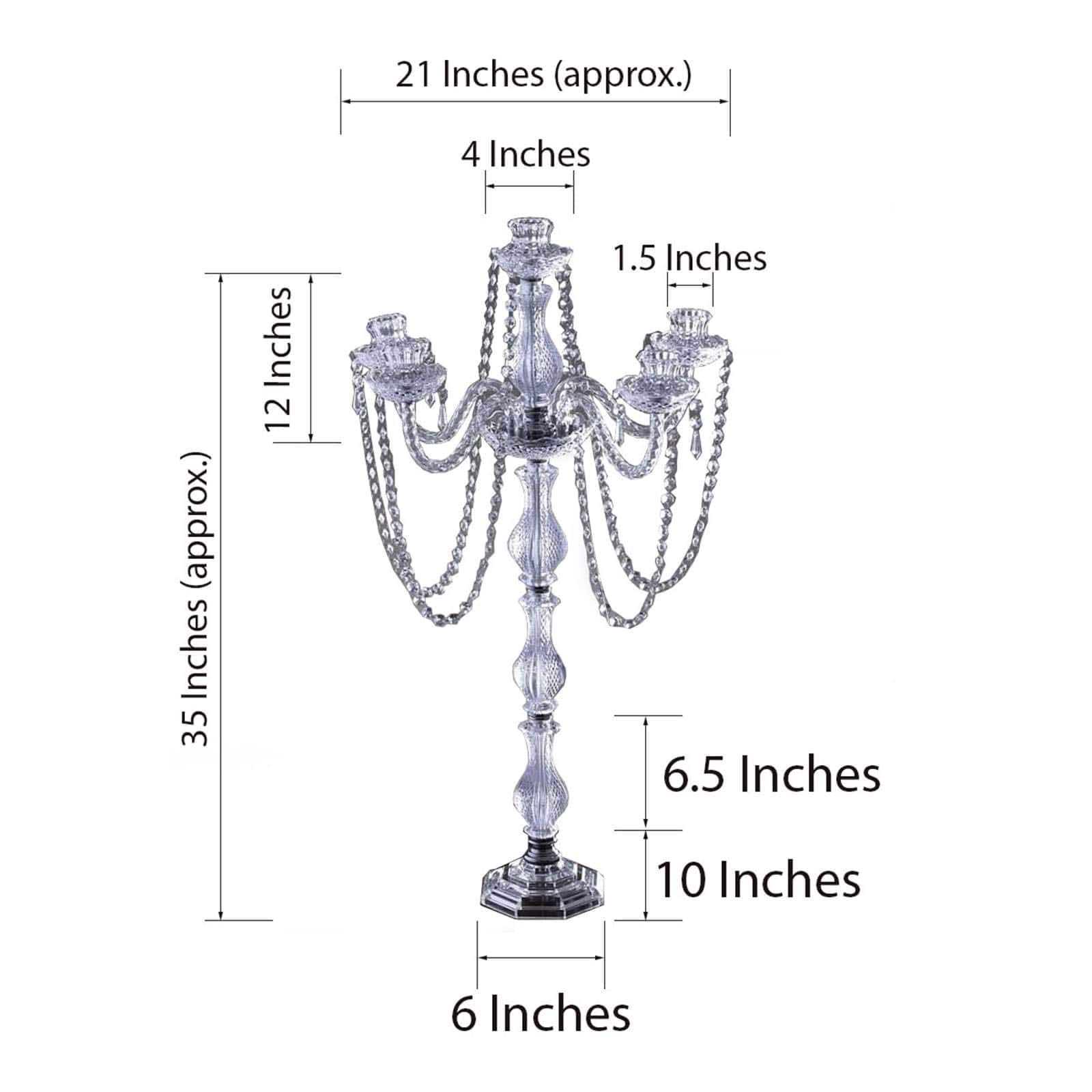 BalsaCircle 35-Inch Tall Crystal Candle Holder Candelabra - Wedding Party Dining Table Home Centerpieces Decorations
