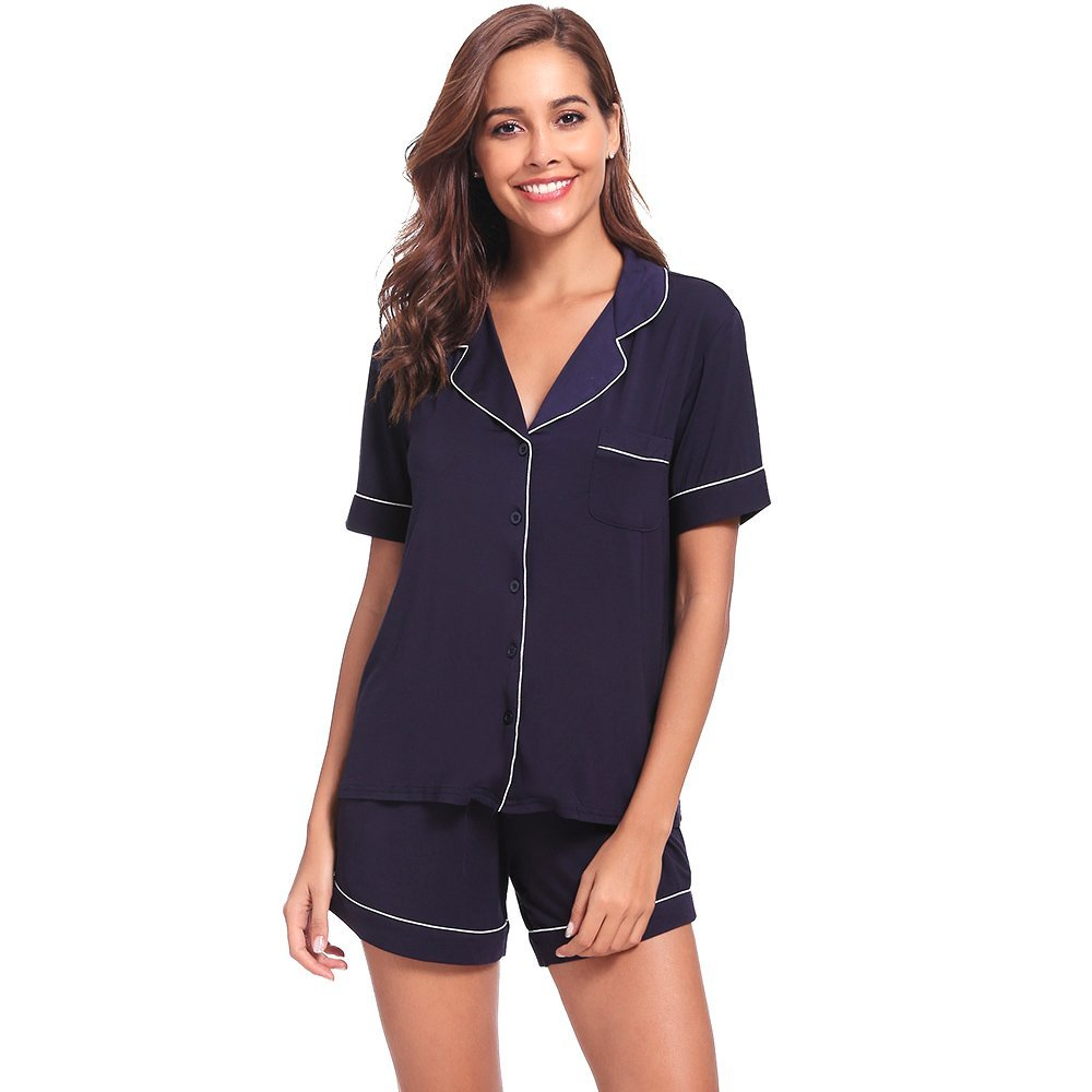 Womens Pajamas Short Sets AMP005 Navyblue M by Seaside (Image #2)