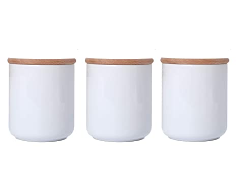 White Ceramic Jars With Lid Ceramic Kitchen Canisters Food Storage Containers With Airtight Wood Lids Salt Sugar Weed Tea Coffee Storage Jars 18 6