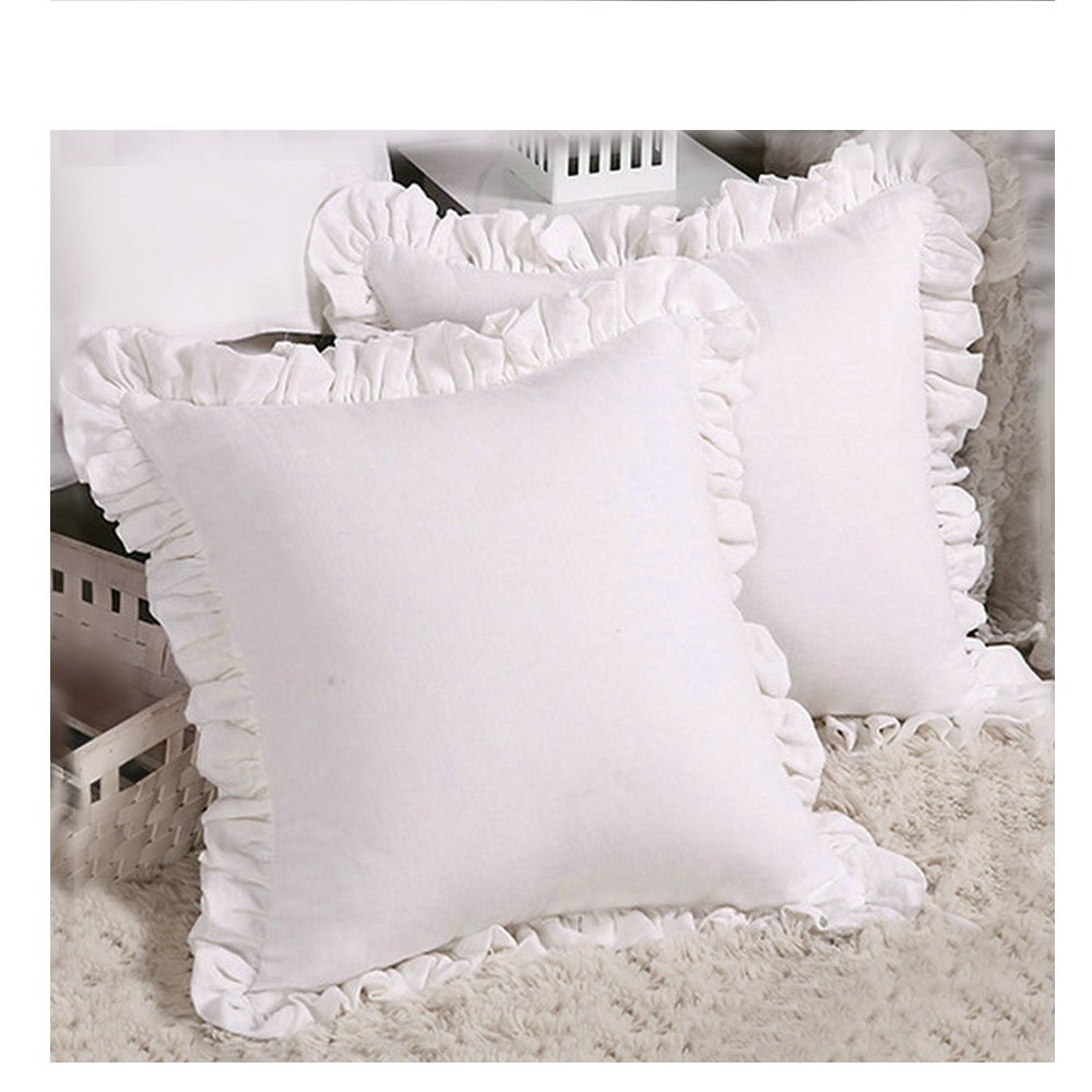 ESASILK Ruffles Linen Cushion Cover.Pure Flax Pillow Sham 100% French Linen Ruffled Pillow Cover, (18'' 18'', White)