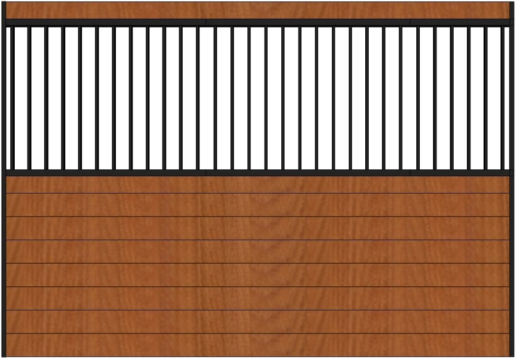 10ft Wide Horse Stall Grilled Side Wall. Black Steel