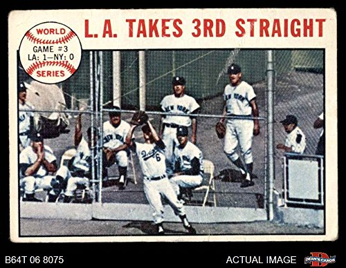 1964 Topps # 138 1963 World Series - Game #3 - L.A. Takes 3rd Straight - Ron Fairly Los Angeles / New York Dodgers / Yankees (Baseball Card) Dean's Cards 1.5 - FAIR Dodgers / Yankees (1963 Series)