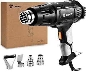 DEKOPRO Heat Gun Variable Temperature, 1500W 140℉~1112℉(60℃- 600℃) Hot Air Gun with 2-Temp Settings, 4 Nozzle Attachments for Shrink Wrapping, Crafts, Stripping Paint