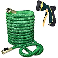 Expandable and Flexible Garden Hose - Solid Brass...