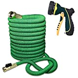 hose - Blueberry Expandable and Flexible Garden Hose - Solid Brass Fittings & Strongest Triple Core Latex, 8 Pattern Spray Nozzle 3/4 US Standard Easy to Storage Kink Free Compact and Durable (100 Feet)