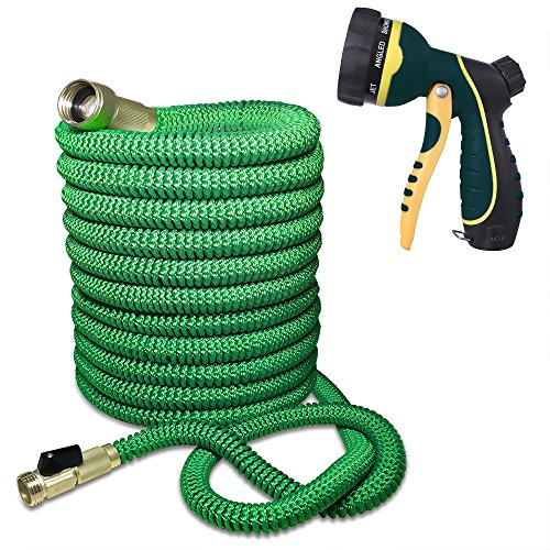Blueberry Expandable and Flexible Garden Hose – Solid Brass Fittings & Strongest Triple Core Latex, 8 Pattern Spray Nozzle 3/4 US Standard Easy to Storage Kink Free Compact and Durable (100 Feet)