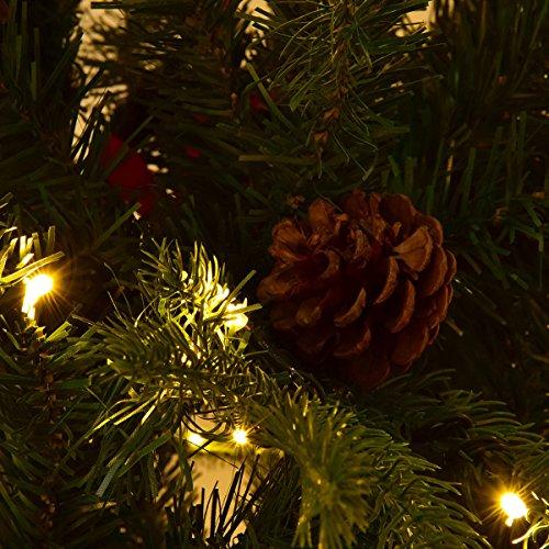 Goplus 7.5Ft Pre-Lit Artificial Christmas Tree Premium Spruce Hinged Tree w/ 540 LED Lights & Pine Cones by Goplus (Image #7)