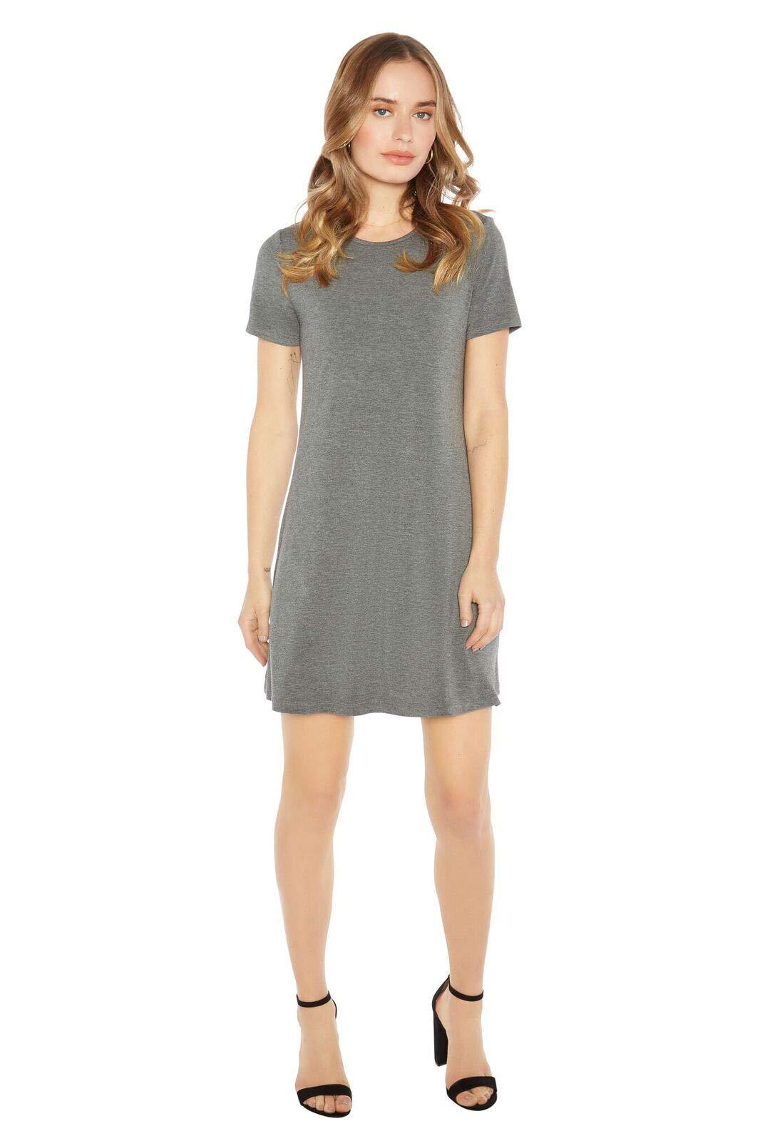 Rohb by Joyce Azria Cannes Short Sleeve Crew Neck Dress (Dark Heather Grey) Size M