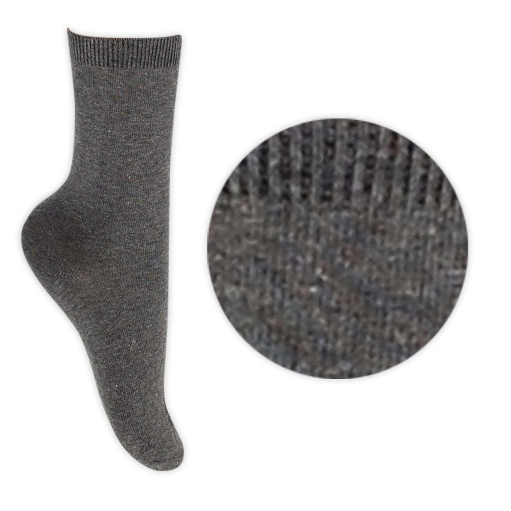 Boys Girls Unisex Cotton Rich School Ankle Socks In Grey And Black Sizes 6-8.5 / 9-12 / 12.5-3.5 / 4-6.5 (12.5-3.5, Grey)
