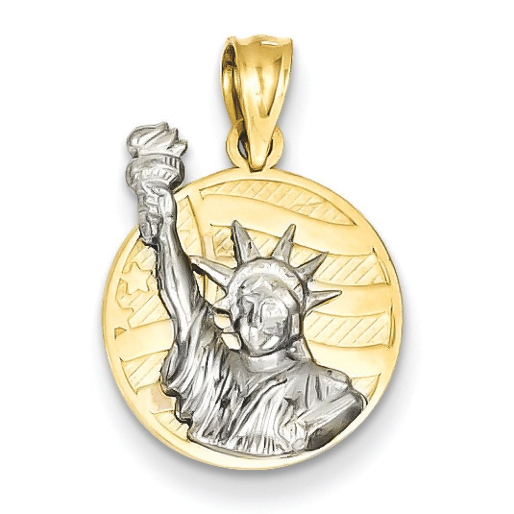 Pendants Travel and Transportation Charms 14K Two-Tone Gold Small Lady Liberty on American Flag Disk Charm Pendant