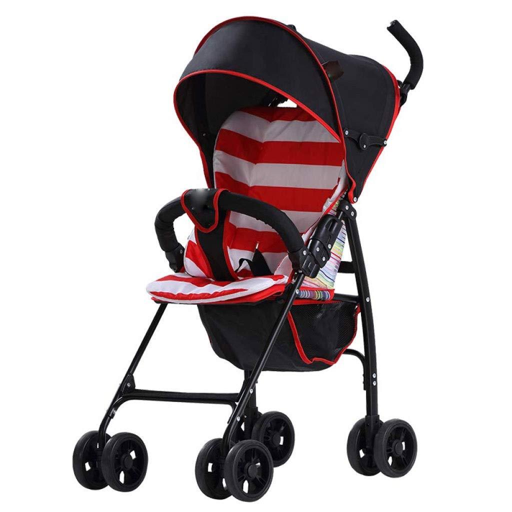 MXYBD ベビーカー、超軽量折りたたみ式の座っている子供の傘のベビーカーは、より多くの保護を提供するために、拡張された日よけと後部フードが付属しています (色 : 赤)  赤 B07Q1X334K