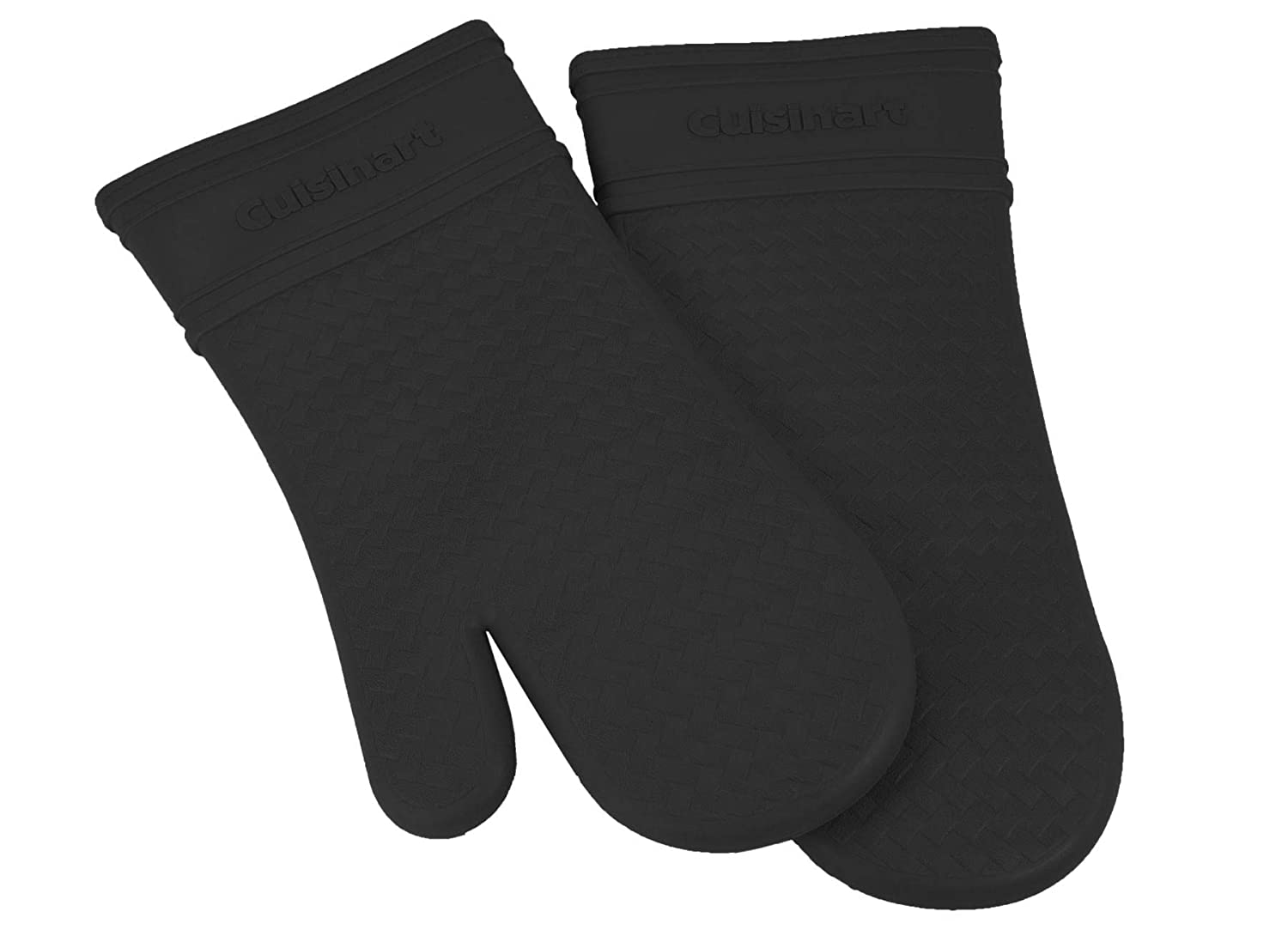 Cuisinart Silicone Oven Mitts, 2pk - Heat Resistant Silicone Oven Gloves to Safely Handle Hot Cookware Items - Flexible, Waterproof Silicone Gloves with Non-Slip Grip and Insulated Pockets - Black