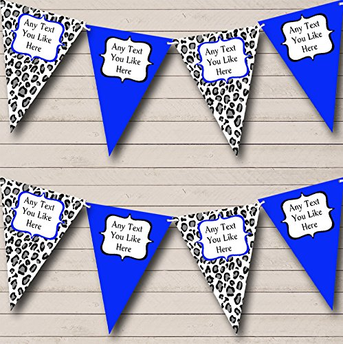 Black White Royal Blue Animal Print Personalized Birthday Party Bunting Banner