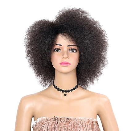 Lovely House Pelucas de belleza rizadas cortas afro pelucas de 15,7 natural negro sintético