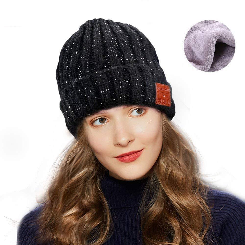 Number-One ユニセックス Bluetooth ビーニーニット帽 冬用 暖かい ミュージカル ブラック ビーニー ワイヤレスヒートセット ステレオスピーカーマイク付き ハンズフリー アウトドアスポーツ ランニング スキー ウォーキング B076HF6H2V