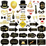 40th Birthday Photo Booth Props, Konsait 40 Black and Faux Gold Happy Birthday Decorations DIY Photo Booth Prop Kits with Stick for Birthday Party Favor Supplies (53 Counts)