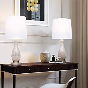 Oneach Table Lamps Set of 2 for Living Room Modern Nightstand Lamp with Fabric Shade Glass Bedside Desk Lamp for Bedroom Kid's Room Girls Room Office Glass Silver
