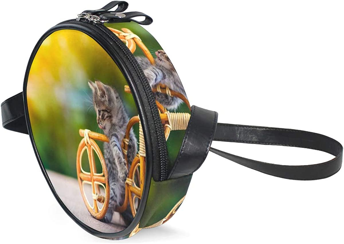 Animal Animals - Bolso bandolera de piel sintética multifuncional, diseño de gato y bicicleta: Amazon.es: Zapatos y complementos