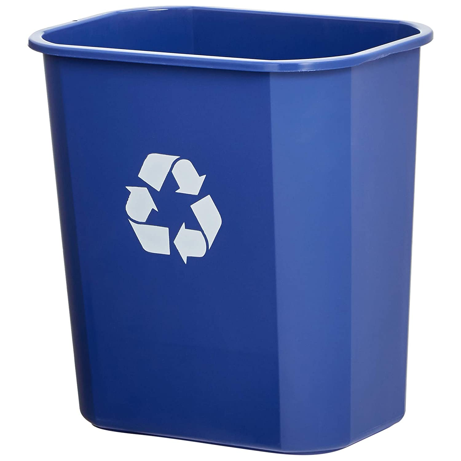 AmazonBasics 3 Gallon Commercial Waste Basket, Recycling, Blue, 12-Pack