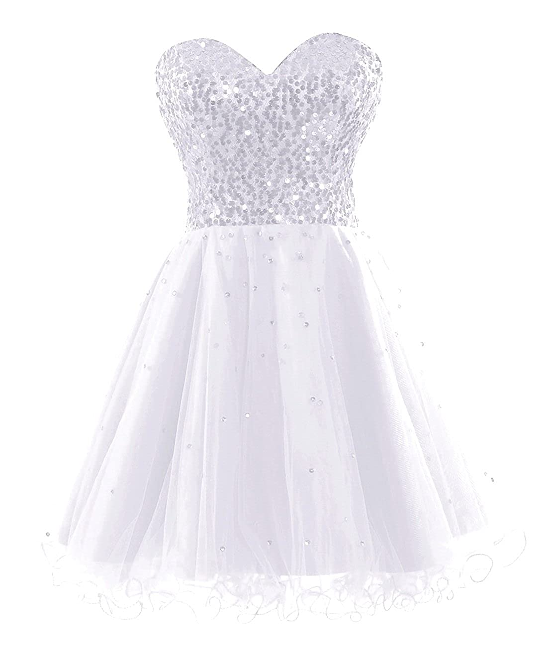 White Bess Bridal Women's Sequined Lace Up Tulle Short Prom Homecoming Dresses