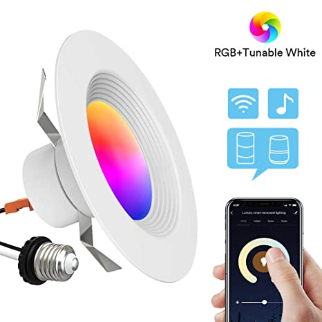 new arrival c9446 bbbac Smart Recessed Lighting - Lumary 5/6 inch WiFi Led Downlight Color Changing  Tunable White+RGB 13W(80W Equivalent)1100lm Compatible with Alexa Google ...