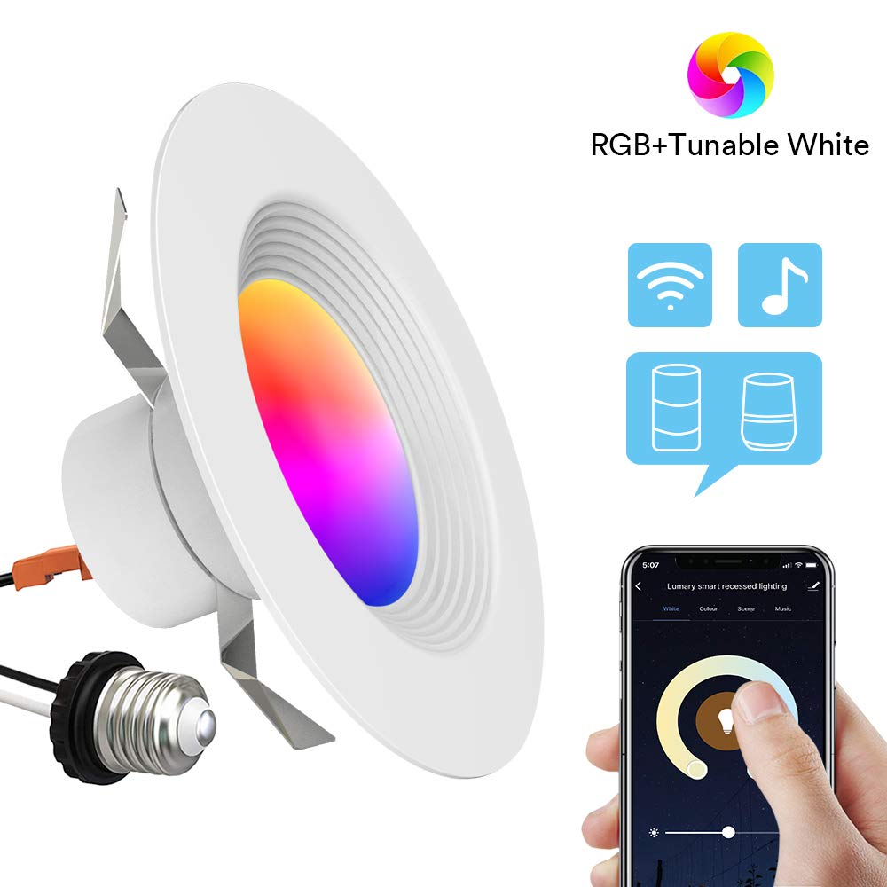Smart Recessed Lighting - Lumary 5/6 inch WiFi Led Downlight Color Changing Tunable White+RGB 13W(80W Equivalent)1100lm Compatible with Alexa Google Assistant IFTTT No Hub Required (5/6 in WiFi)