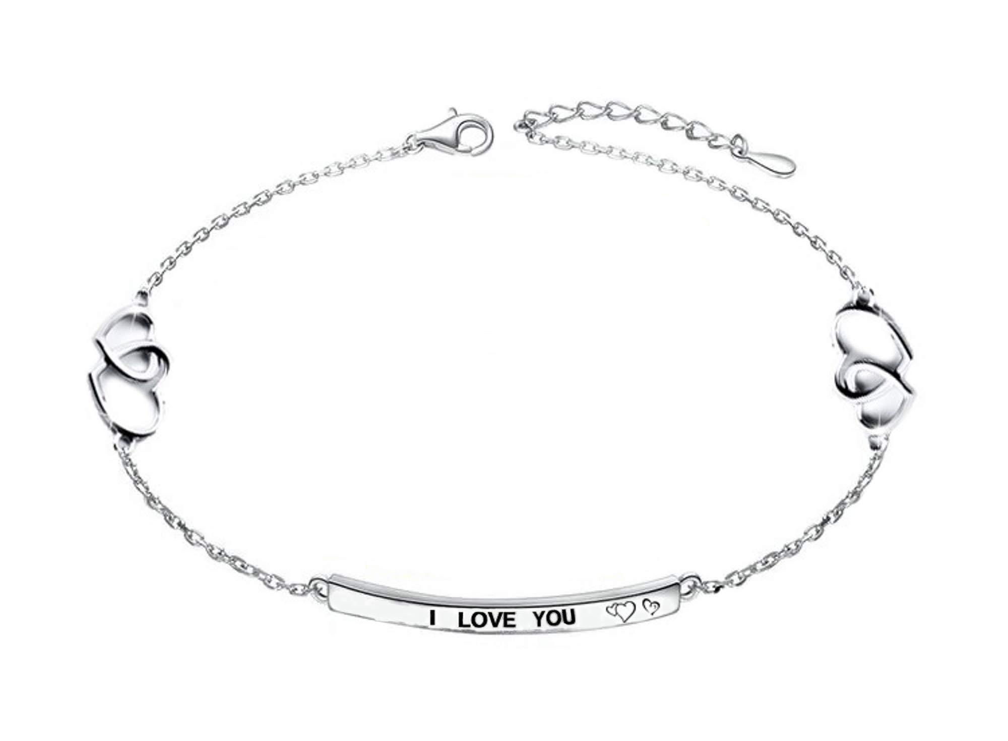 Peterpanshop Heart Shape Popular Anklet for Women 925 Sterling Silver Color Adjustable Foot bracelet Vintage Jewelry (Style-A)