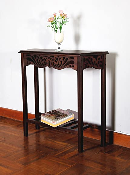 D-Art Collection Serenity Entrance Wall Table, Dark Brown