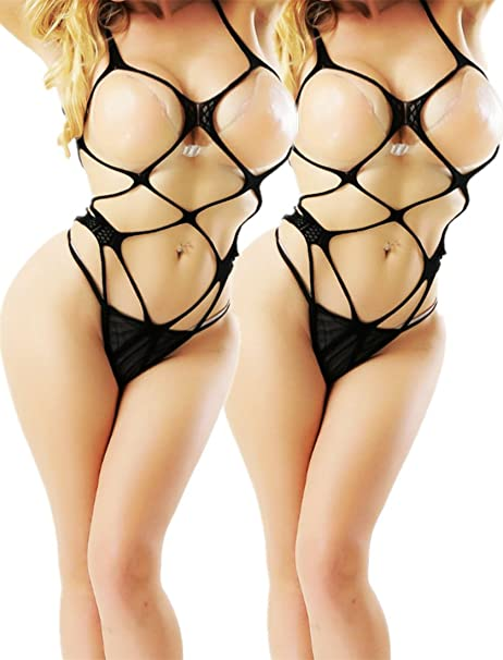 b47848bf64 Daisland Women Sexy Lingerie Sleepwear Nightwear Fishnet Bodysuit  Bodystocking (2 piece Black 0334)
