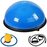 Bosu Balance Ball Yoga Fitness Training Exercise Gym Home Core Pilates Half Resistance Bands Inflation Pump 125KG Capacity Everfit