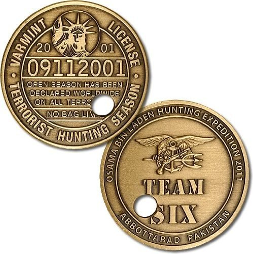 Northwest Territorial Mint Punched Ticket Osama bin Laden Challenge Coin (Seal Team Trident)